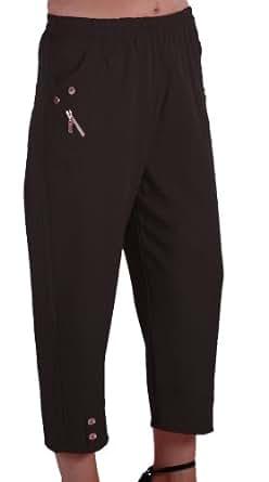 EyeCatch - Women Capri Crop Pants Flexi Stretch Plus Sizes Ladies 3/4 Trousers Black Size 12