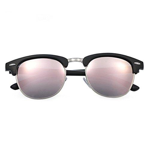 Yveser Polarisierte Sonnenbrille für Männer & Frauen (Rosa Linse/Schwarze Matte Rahmen)