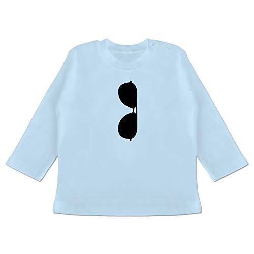 Strampler Motive - Brille Kragen - 6-12 Monate - Babyblau - BZ11 - Baby T-Shirt Langarm