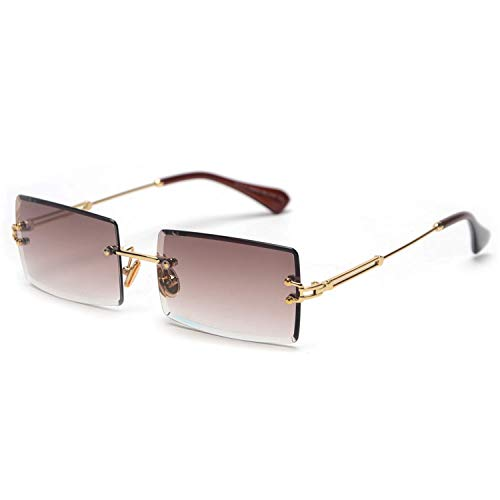 Vintage Sonnenbrillen, Small Rectangle Sunglasses Women Rimless Square Sun Glasses For Women NEW Summer Style Female Uv400 Green Brown as show in photo clear pink ()