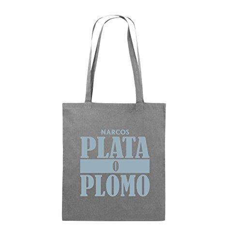 Comedy Bags - PLATA O PLOMO - NARCOS - Jutebeutel - lange Henkel - 38x42cm - Farbe: Schwarz / Silber Dunkelgrau / Eisblau