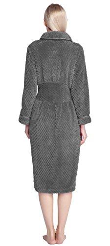 Urban GoCo Donna Tunica Accappatoio Pile Microfibra Lunghe Vestaglia con Tasche Laterali #1 Grigio