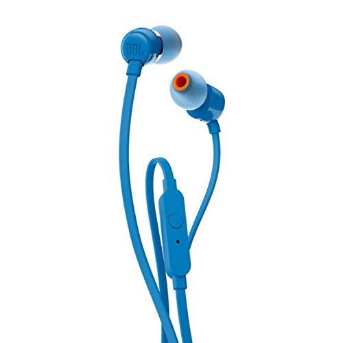 JBL T110 in-Ear Headphones with Mic (Blue) Image 2