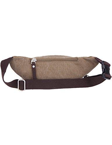 CUKKE Vintage Leinwand Gürteltasche Outdoor Sport Hüfttasche Doggy Tasche Sportstasche Gürtellinie Waist Tasche Hip Pack für Wandern Laufen Radfahren Camping Reise Klettern Beige Beige