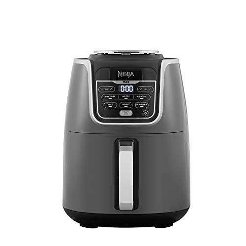 Ninja Air Fryer Max, 5.2L, 6 Cooking Functions, 1750W, Grey/Black, Non Stick Ceramic AF160EU, Plastic Pan Coated Crisper Plate, 5.2 liters