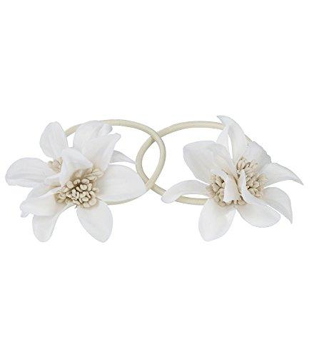 SIX 2er Set: beige Haargummi mit Blumen aus Stoff, Blumenschmuck, Haarschmuck, Zopfgummi (05-518)
