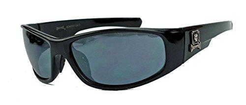 CHOPPERS® Sonnenbrille Biker Brille für Herren Iron Cross Skull Locs Sportbrille CP67 (Schwarz)