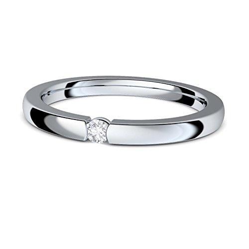 Verlobungsringe Silber 925 ❤️❤️❤️ Spannring von AMOONIC mit SWAROVSKI Zirkonia Stein Silber-Ring Damen-Ring wie Diamant-Ring Weißgold Solitär-Ring Heiratsantrag Antrag AM195SS925ZIFA-7 (Spannring Diamant)