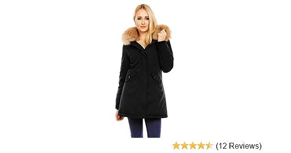 Mayaadi Damen Winter Parka Jacke Mantel 100% Echtes XXL Fell Pelz Kapuze HS- 6015  Amazon.de  Bekleidung 96fbe2b469