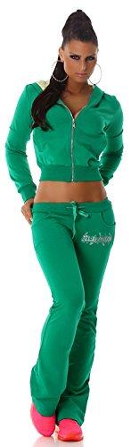 Jela London Damen Jogginganzug Jacke & Hose mit Kapuze Grün