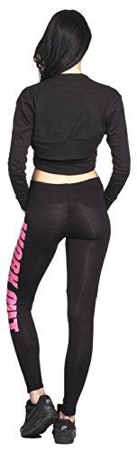 WORKOUT Leggings Yoga Pant Pants Legings Training Sport Hose Modell 2016 Statment Print Aufdruck Squat Fitness Sport Schwarz / Pink