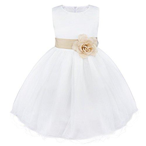 IEFIEL Enfant Filles Satin Robe Demoiselle d'honneur Fleur Noeud Papillons 2-14 Ans (3 Ans, Khaki)