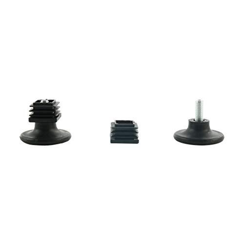 sourcing map 2Stk. Stellfüße 25 x 25mm Vierkantrohreinsatz für Möbel Glide Adjuster - Post Cap Kit