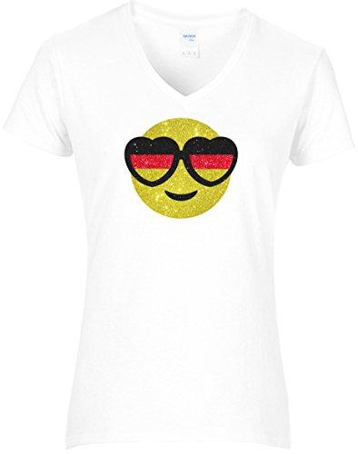 Elegantes Damen WM Shirt Fussball Deutschland Smiley mit Herzbrille Deutschlandfarben Germany Emoji8, T-Shirt, Grösse XXL, Weiss