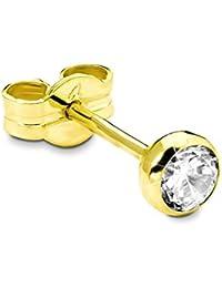 amor Damen-Ohrstecker Einzelohrschmuck 333 Gelbgold glänzend Zirkonia weiß  - 31240