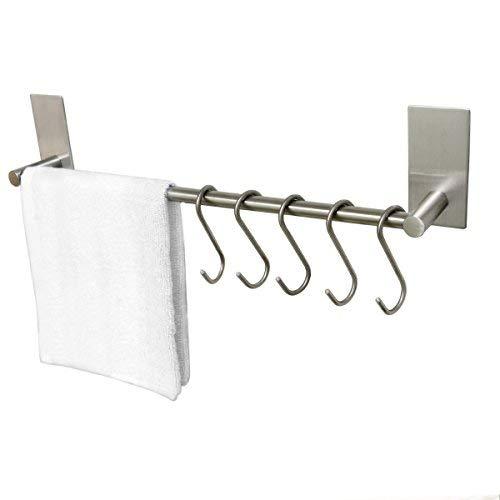 ToHa Selbstklebender Handtuchhalter gebürstetem Edelstahl mit 5 Haken, Handtuchstange Ohne Bohren Bad und Küche 40cm