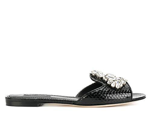 DOLCE E GABBANA Damen Cq0130ai34780999 Schwarz Leder Sandalen - Dolce Gabbana Kleid Schuhe