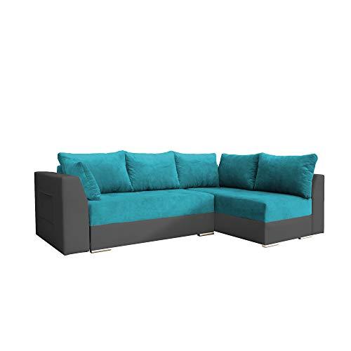 mb-moebel Ecksofa mit Schlaffunktion Eckcouch mit Zwei Bettkasten Sofa Couch Wohnlandschaft L-Form Polsterecke Laos (Türkis + Grau, Ecksofa Rechts)