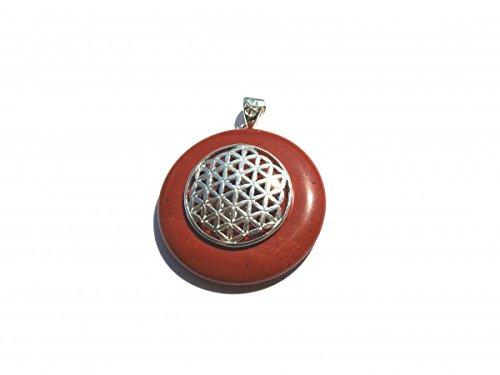 Donut Jaspis rot Anhänger Blume des Lebens Donuthalter Silber Symbolschmuck