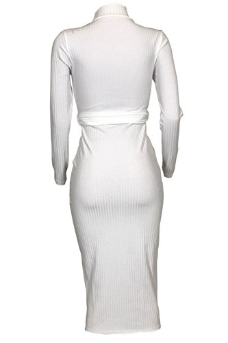 Le Donne L'inverno A Maniche Lunghe Collo Alto Nervata Bodycon Vestito Nero White