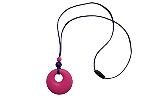 Silicone Teething Necklace Pendant Breastfeeding Baby Nursing Beads BPA Free, Hand-Made by MilkMama, 5 colours (pink)