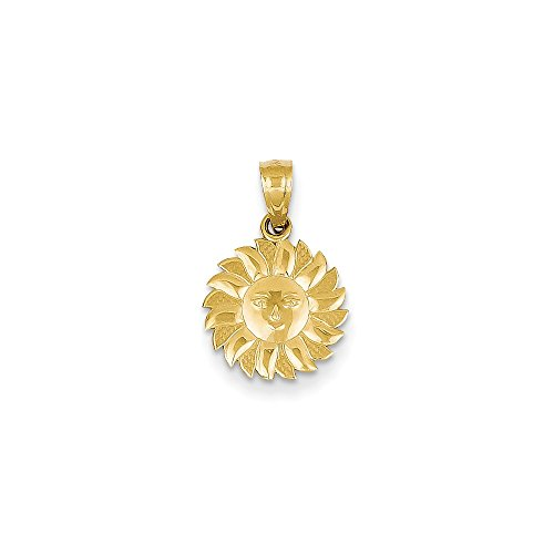 IceCarats Designer Jewellery 14K Polished Sun With Face Pendant