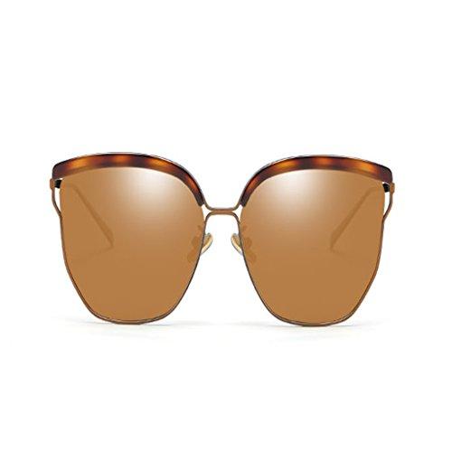 NUBAO Sonnenbrille Weibliche Runde Gesicht Polarisierte Sonnenbrille Gläser Retro UV Große Quadratische Gläser Outdoor-Reisen Tourismus Golf Sonnenbrillen (Farbe : Brown)