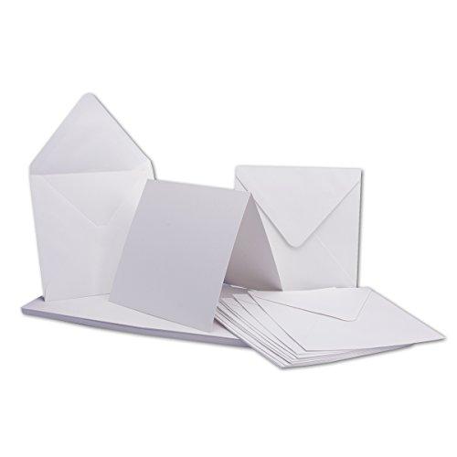 Quadratische Karten inklusive Briefumschläge   25er-Set   Blanko Einladungskarten in Hoch-Weiß   bedruckbare Post-Karten   Klappkarten / Faltkarten   ideal zum Selbstgestalten & Kreieren   GUSTAV NEUSER C-Line