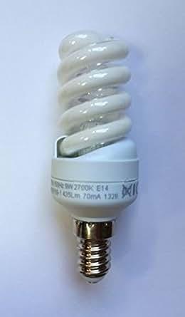 3 x Ampoules à économie d'énergie e14 9 w, mini spirale bnsp 09–1 ampoule, longueur :  103 mm/ø 33 mm, 2700 k, blanc chaud, 435 lm