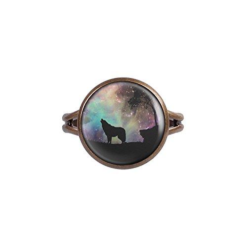 Mylery Ring mit Motiv Wolf Weltraum Sterne Baum bronze 14mm