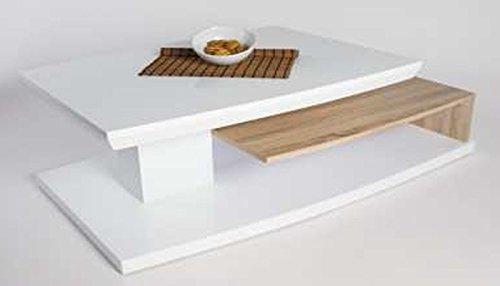 PEGANE Table basse MELANIE haute brillance blanc/Sonoma chêne clair, 1150 x 600 x 400 mm