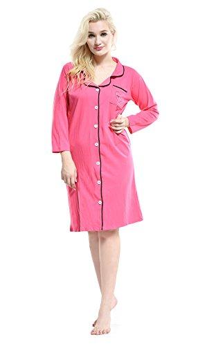 Pink Damen Nachthemd Gr. M, 16-83009 Rose (Flannel Pink Lounge-set)
