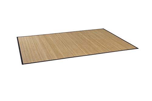 Massiver Bambusteppich HIGHQ I 11mm Stege, Filigrane Bordüre I Bamboo Teppichläufer Bettumrandung Küchenläufer Eingangsteppich Küchenvorleger I Garderoben Läufer von DE-Commerce I 70 x 140 cm