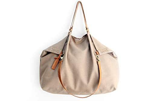 Borsone da viaggio, borsa da viaggio, Weekend bag, borsa in tela IDROREPELLENTE marrone oliva e cuoio. Personalizzata con nome. Weekender personalizzata con nome.