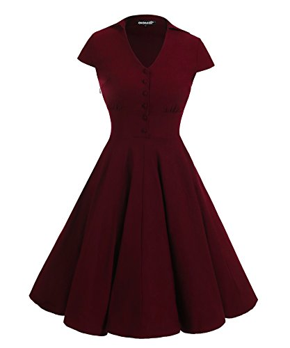 Gigileer 1950's Rockabilly Kleid Swingkleid Cocktailkleid Kurzarm Knielang