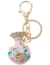 Banggood ELECTROPRIME Opal Money Purse Keychain Keyring Bag Charm Key Ring Pendant Gifts White
