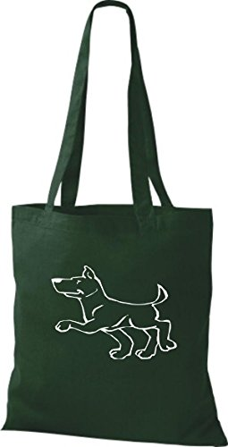 ShirtInStyle Stoffbeutel Hunde Motive Rasse Hund Lustige Tiere Züchter diverse Farbe bottle green
