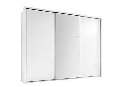 58-166-17 BRAVO Weiß matt / Schiebetürenschrank Schwebetürenschrank Kleiderschrank Spiegel ca. 270 cm