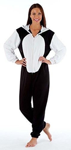 Grenouillère Onesie Animal Capuche avec Oreilles Chaud Doux Hiver Femme Panda Noir