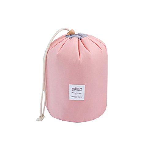Fenverk Runden Kulturbeutel Kordelzug Waschbeutel Make up kosmetische Reisetaschen Wash Bag (Rosa, 14cm x 8cm/5.51