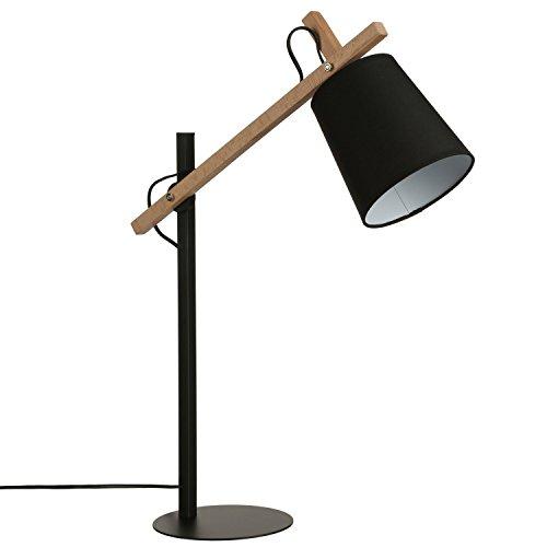 Lampe de table en métal et bois avec bras articulé. Hauteur 65 cm . Design moderne