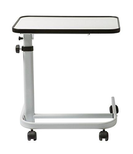 FabaCare Beistelltisch Luxus, stufenlos höhenverstellbarer Betttisch auf Rollen, Tisch für Bett mit Neigung, faltbar, Winkel verstellbar, Easy To Clean Spezialversiegelung, Weiss