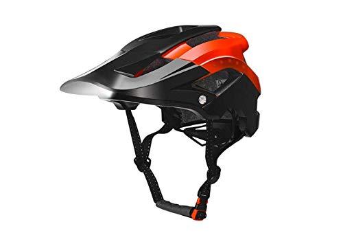 Casco per Mountain Bike/Visiera Parasole Rimovibile/Luci Di Sicurezza Anteriori a Led Mountain Bike Casco da Equitazione Fari Luminosi Spie Di Avvertimento Ricarica Di Guida Notturna,Rosso e nero