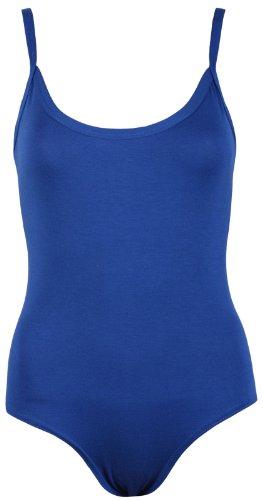 Canotta-body da donna elasticizzato, con scollatura rotonda, smanicato con chiusura abbottonata. Blu reale