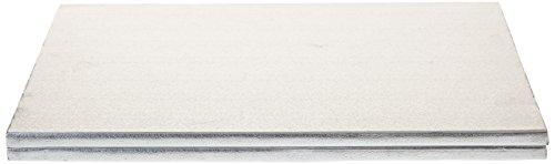 Decora Cakeboard Rettangolare in Cartone Pressato Rigido di Pura Cellulosa, 30 x 40 cm, Argento