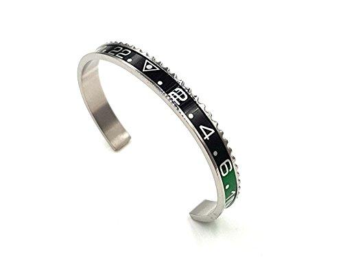 Moewe Hamburg - Cronometro, braccialetto con cinturino, argento, verde, nero, lunetta Submariner e GMT, braccialetto, argento, nero, rosso, Coke GMT Master