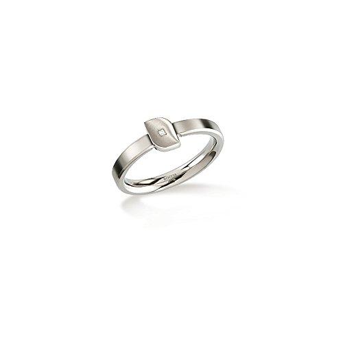 Boccia Damen-Ring Titan mattiert Diamant (0.005 ct) weiß Brillantschliff Gr. 63 (20.1) - 0141-0263