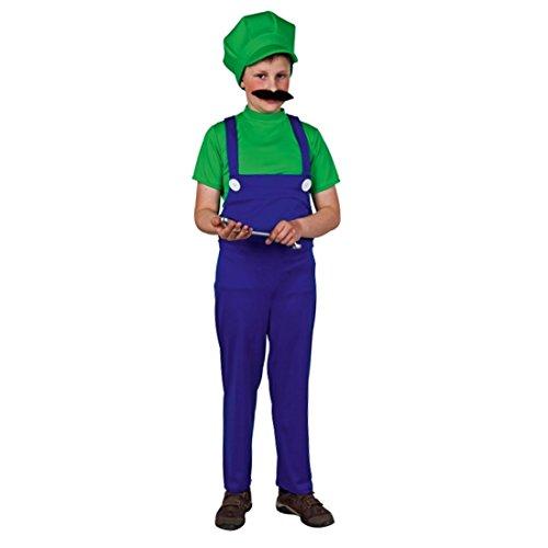 NET TOYS Kinderkostüm Luigi Kostüm Handwerker Klempner grün-blau Luigikostüm Karnevalskostüm Kinder Klempnerkostüm Superheld