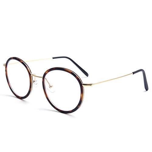 Zebuakuade Retro Edelstahl Metall runde Brille Rahmen klare Brille Männer Frauen (Color : Leopard) -