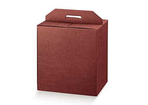 5 scatole 33x25x35h robuste strenne natalizie fino a 7 kg cartone accoppiato e maniglia esterna bordeaux